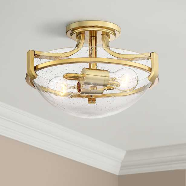 """Mallot 13"""" Wide Brass and Clear Seedy Glass Ceiling Light - Style # 64V91 - Lamps Plus"""