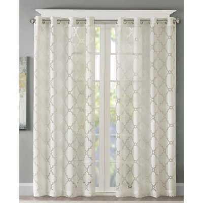 Breckenridge Geometric Sheer Grommet Single Curtain Panel - Birch Lane