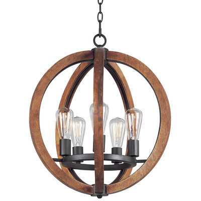 Orly 5 - Light Unique / Statement Globe Chandelier with Wood Accents - AllModern
