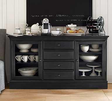 Tucker Wood Cabinet Buffet, Black - Pottery Barn