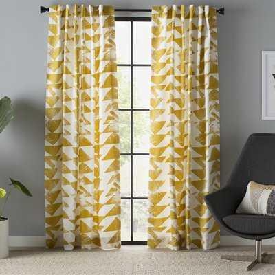 "Fey Printed Cotton Twill Geometric Room Darkening Rod Pocket Single Curtain/Drapes - 50""x108"" - AllModern"