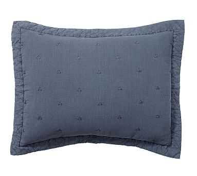 Triangle Stitch Washed Cotton Sham, Standard, Blue - Pottery Barn