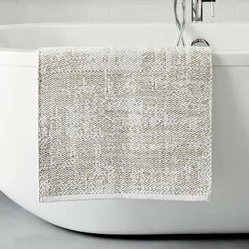 "Organic Distressed Texture Bath Mat, 20""x34"", White - West Elm"