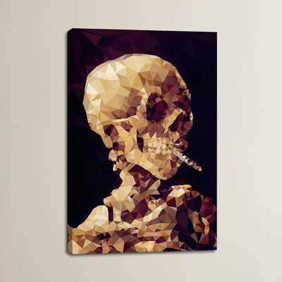 Smoking Skull Derezzed Graphic Art on Wrapped Canvas - Wayfair