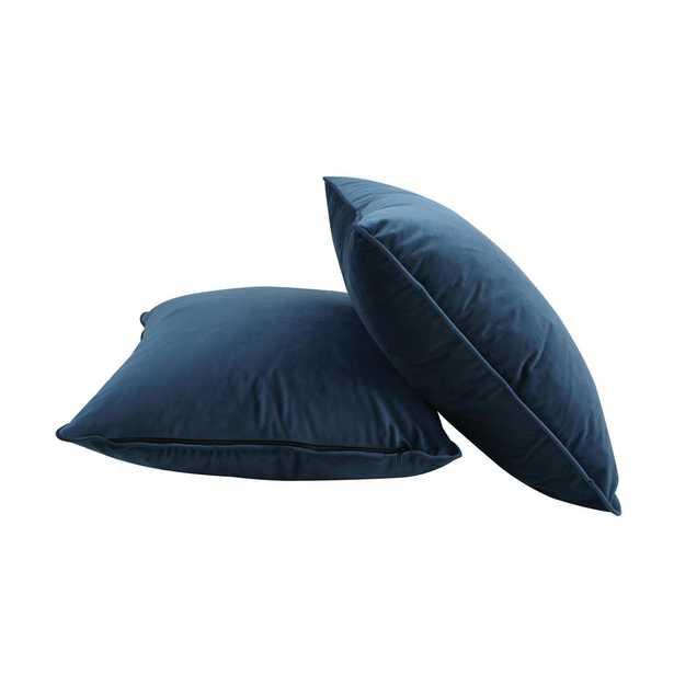 Nia Velvet Accent Pillow in Aegean Blue (Set of 2) - Home Depot
