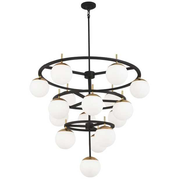 George Kovacs Alluria 16-Light Weathered Black with Autumn Gold Chandelier with Etched Opal Glass Shade - Home Depot