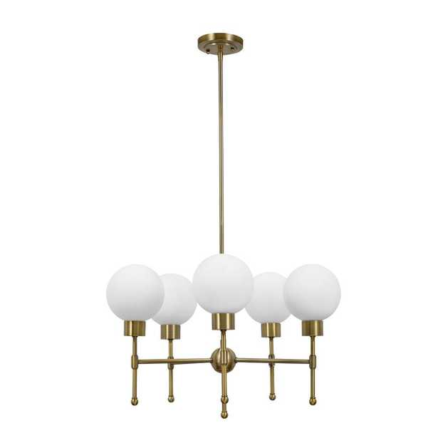 Cresswell 52.50 in. Antique Brass Mid-Century Modern Chandelier and LED Bulb - Home Depot