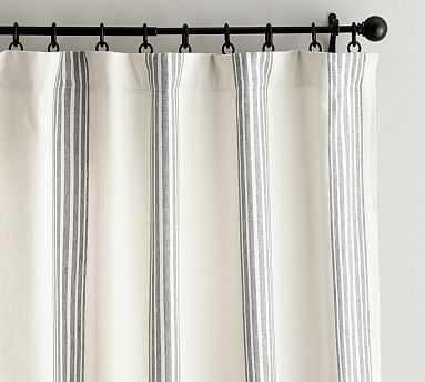 "Riviera Striped Linen/Cotton Rod Pocket Blackout Curtain, 50 X 84"", Charcoal - Pottery Barn"
