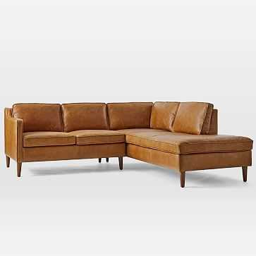 Hamilton Sectional Set 06: Left Arm Sofa, Right Arm Terminal Chaise, Poly, Charme Leather, Burnt Sienna, Almond - West Elm