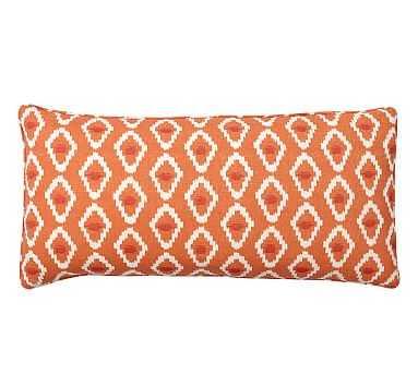 """Diamond Ikat Lumbar Pillow Cover, 12 x 24"""", Orange - Pottery Barn"""