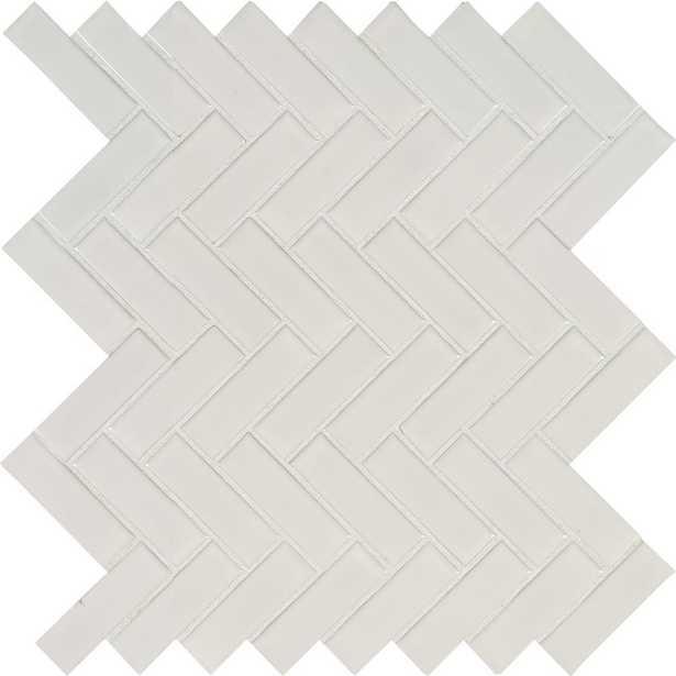 MSI White Glossy Herringbone 9.72 in. x 12.52 in. x 10 mm Porcelain Mesh-Mounted Mosaic Tile (16.9 sq. ft. / case) - Home Depot