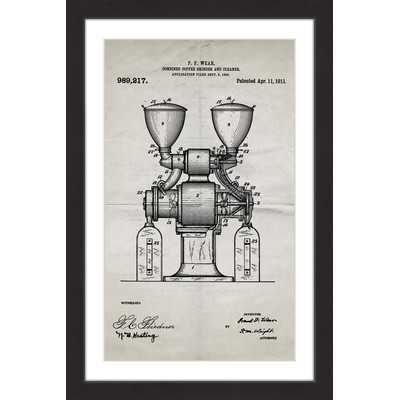 'Coffee Grinder 1911 Old Paper' by Steve King Framed Painting Print - Wayfair