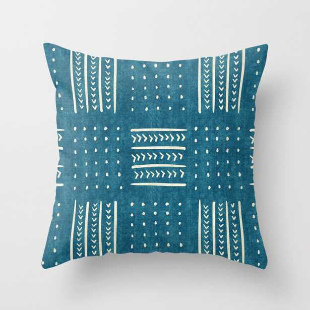 """Mud Cloth Patchwork in Teal Throw Pillow - Indoor Cover (20"""" x 20"""") with pillow insert by Beckybailey1 - Society6"""