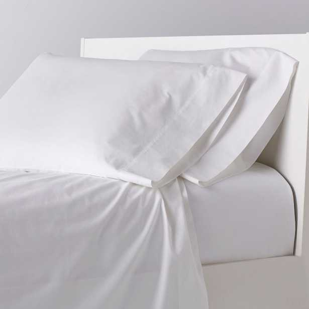 Garment-Washed 4-Piece White 200-Thread Count Cotton Percale Queen Sheet Set - Home Depot