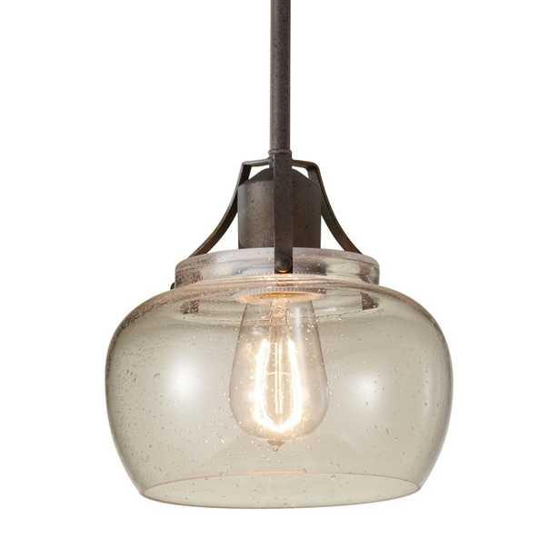 Feiss Urban Renewal 8 in. W. 1-Light Rustic Iron Mini Pendant - Home Depot