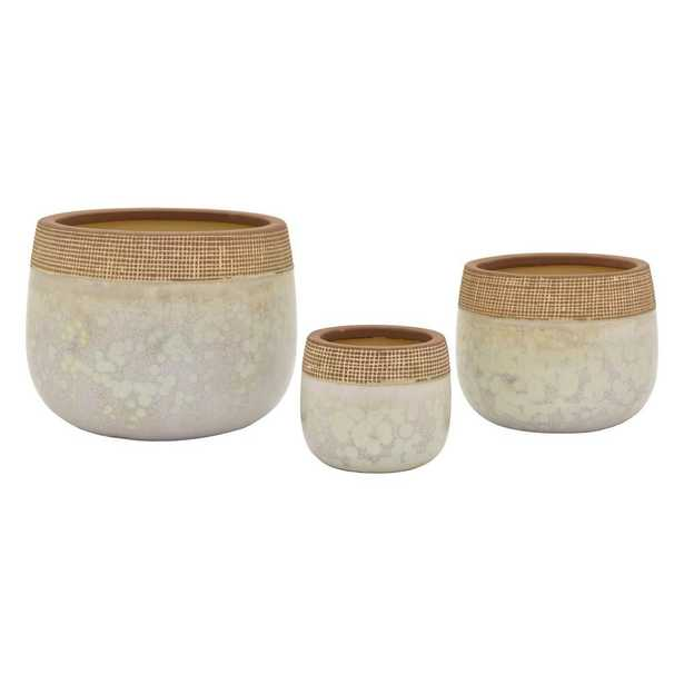 THREE HANDS 9 in. Brown Ceramic Planter (Set of 3) - Home Depot