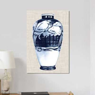 'Blue & White Vase VI' Graphic Art Print on Canvas - Wayfair