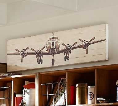 """Small Planked Airplane Panels, 12 x 50"""" - Pottery Barn"""