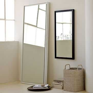 Floating Wood Floor Mirror, White Lacquer - West Elm