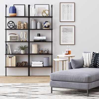 Moskowitz Standard Bookcase Walnut Brown Wood, Black Metal Frame - Wayfair