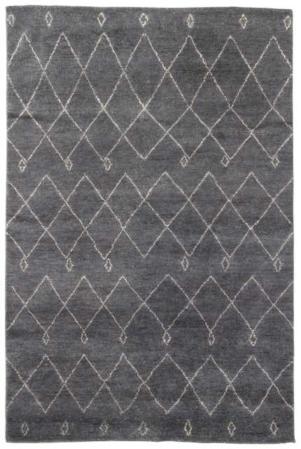 Casablanca Hand-Knotted Trellis Gray/ White Area Rug (8x10) - Collective Weavers