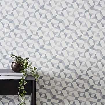 Faceted Pyramid Wallpaper, Platinum - West Elm