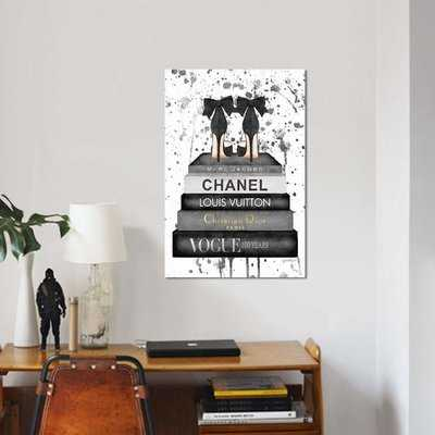 'Fashion Bookstack Gray Bow Shoes & Ink' Graphic Art Print on Canvas - Wayfair