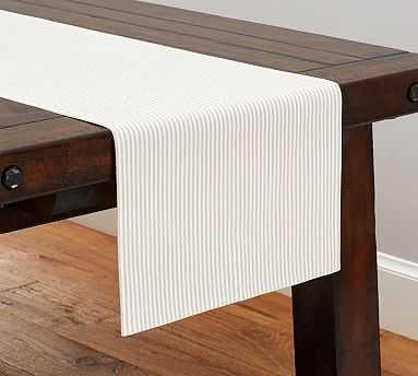Wheaton Stripe Table Runner, Flax - Pottery Barn