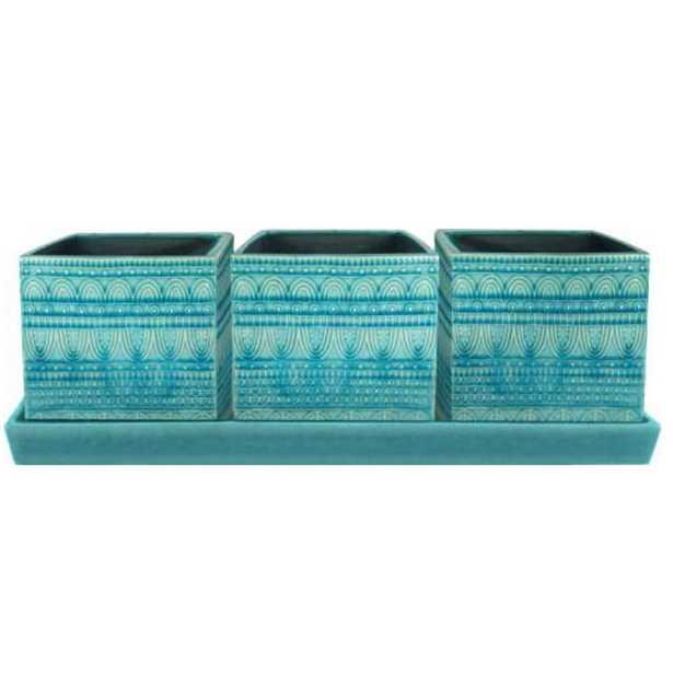 12 in. Dia Blue Seven Seas Ceramic Trio - Home Depot