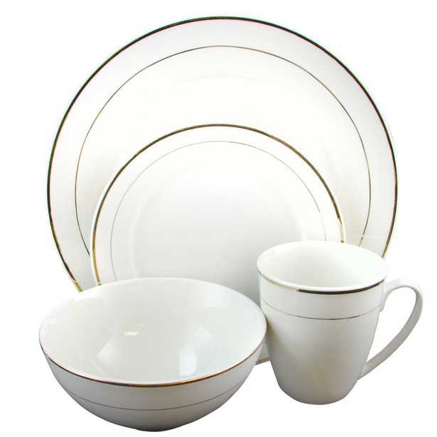 Palladine 16-Piece White Double Gold Banded Dinnerware Set - Home Depot