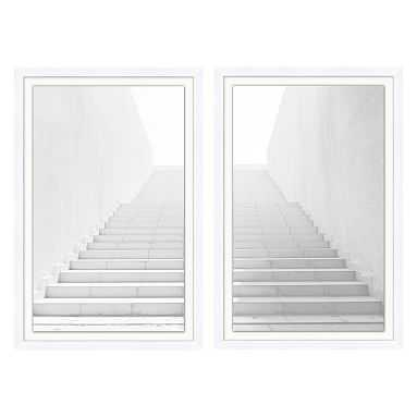 """White Washed Stairs Diptych Framed Art, Set of 2, White Frame, 20x30"""" - Pottery Barn Teen"""