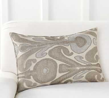 """Kenmare Ikat Embroidered Lumbar Pillow Cover, 16 x 26"""", Neutral Multi - Pottery Barn"""
