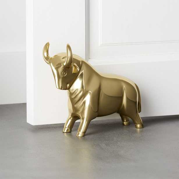 Pascal the Bull Gold Doorstop-Bookend - CB2