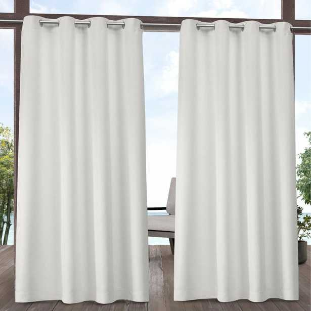 Exclusive Home Curtains Indoor/Outdoor Solid Cabana Grommet Top Curtain Panel Pair in Vanilla (White) - 54 in. W x 108 in. L (2-Panel) - Home Depot