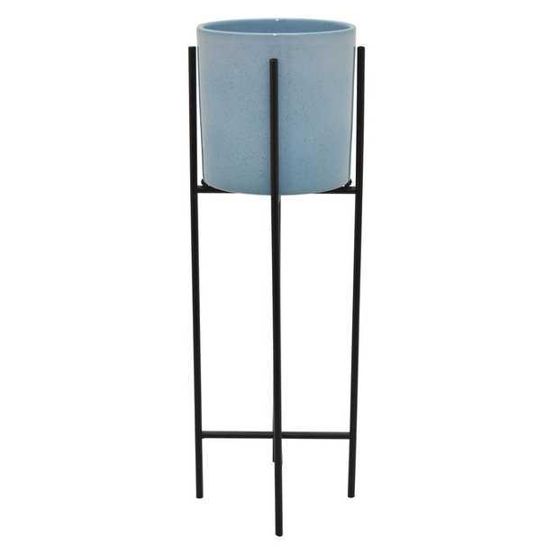 THREE HANDS Ceramic Planter W/ Metal Base in Blue Porcelain-Ceramic 8in L x 8in W x 26in H - Home Depot