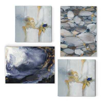 'Geometric Blues' 4 Piece Painting Print Set on Canvas - Wayfair