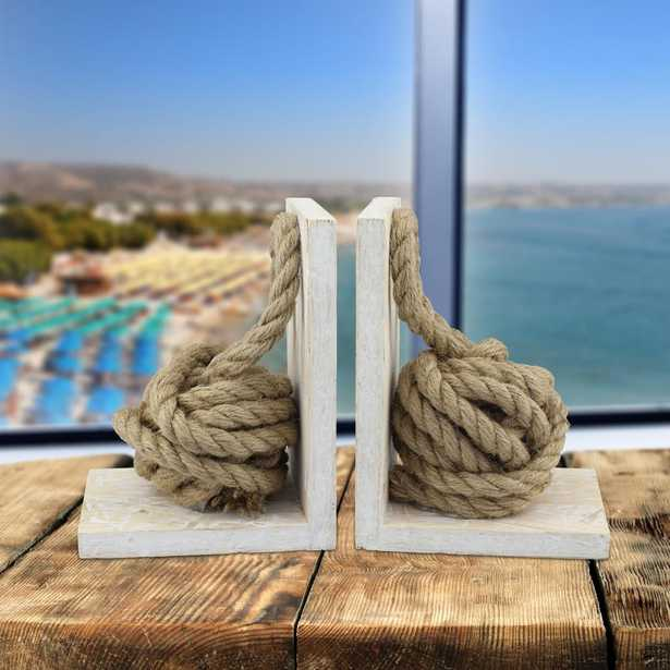 White Wood Bookends with Natural Rope Knots (Set of 2), Whites - Home Depot