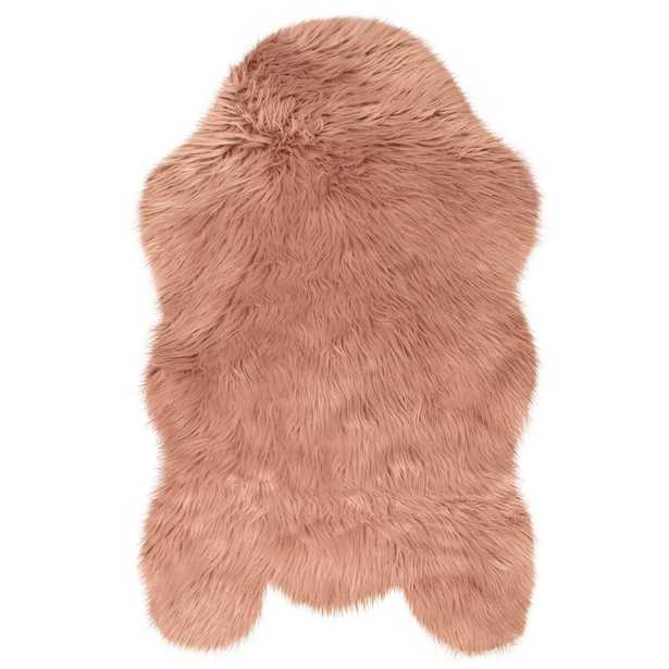 Faux-Fur 3' x 5' Area Rug, Dark Blush - Home Depot