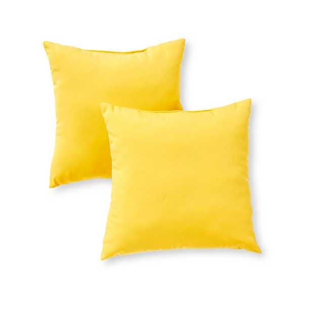 Greendale Home Fashions Solid Sunbeam Yellow Square Outdoor Throw Pillow (2-Pack) - Home Depot
