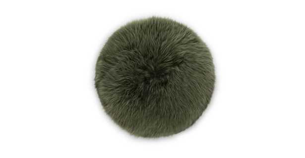 Lanna Green Round Sheepskin Pillow - Article