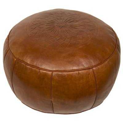 Hamerton 20'' Wide Genuine Leather Round Pouf Ottoman with Storage - Wayfair