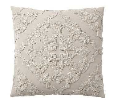 """Drew Embroidered Pillow Cover, 18"""", Flax - Pottery Barn"""