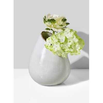 "Bungalow Rose Glazed Ceramic Hi-Low Vase, Set Of 2- Centerpiece For Vintage Weddings, Events, Measures 5"" Tall And 4"" Diameter - Wayfair"
