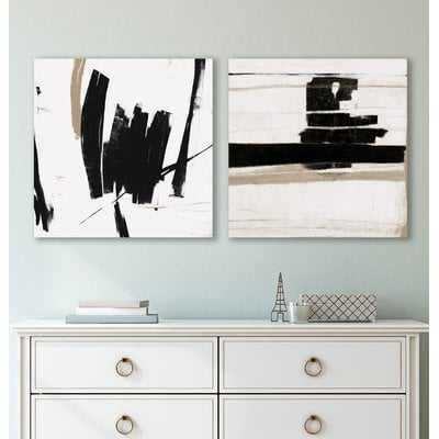 'Black and White Abstract' 2 Piece Print Set on Canvas - AllModern