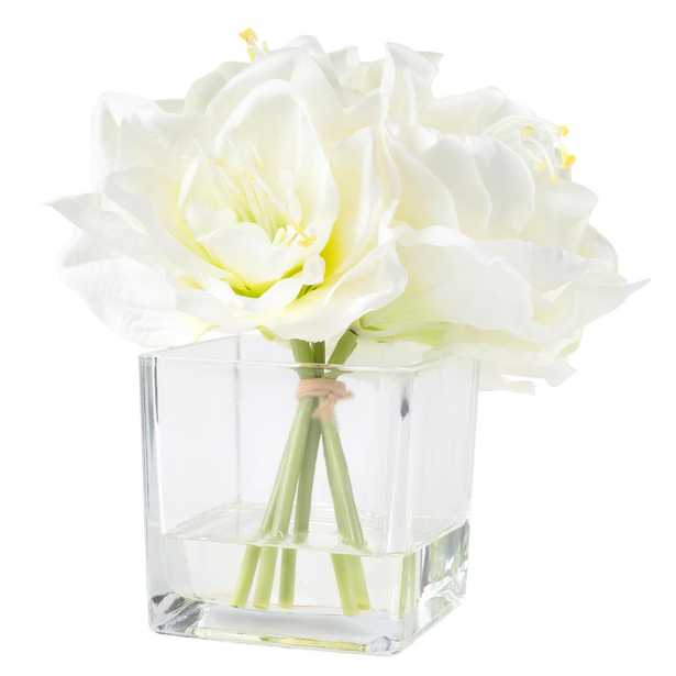 8.5 in. Lily Floral Cream Arrangement - Home Depot