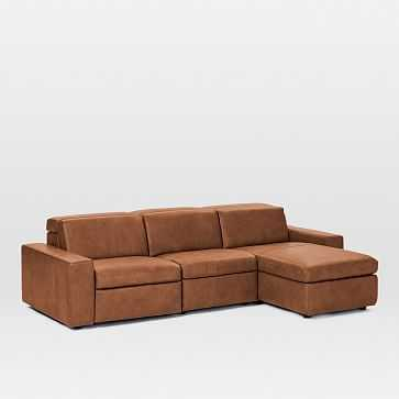 Enzo Leather 3-Piece Reclining Chaise Sectional w/ Storage - West Elm
