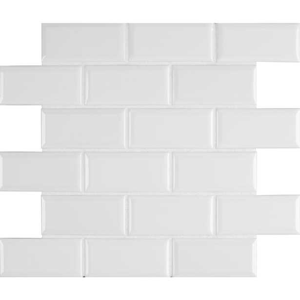 MSI Bright White Bevel 11.47 in. x 11.63 in. x 6 mm Glazed Ceramic Mesh-Mounted Mosaic Tile (13.35 sq. ft. / case) - Home Depot