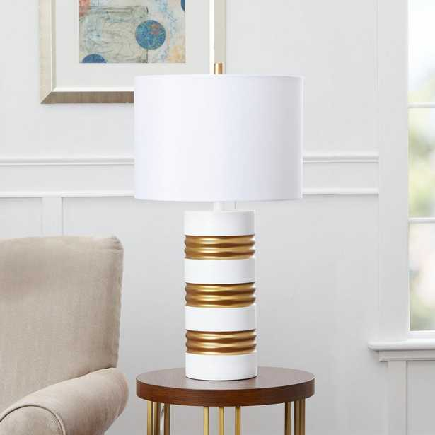 Silverwood Chloe 26 in. White and Gold Table Lamp with Linen Shade - Home Depot