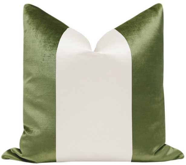 "PANEL Colorblock :: Faux Silk Velvet // Olive + Alabaster Silk - 20"" X 20"" - Little Design Company"