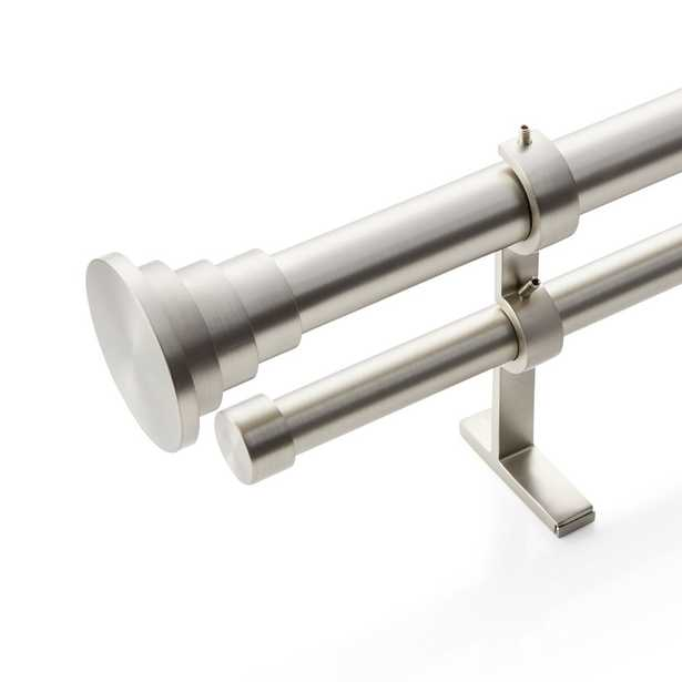 """CB Tiered Brushed Nickel Finial and Double Curtain Rod Set 48""""-88"""" - Crate and Barrel"""